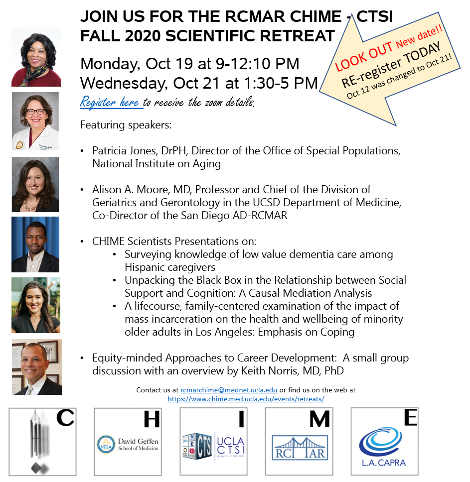 RCMAR CHIME & CTSI – Fall Scientific Retreat – Date Changed – Please Register