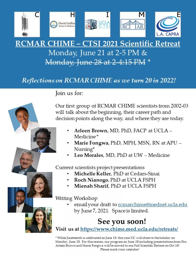 Flyer RCMAR CHIME CTSI Retreat June 2021 062121