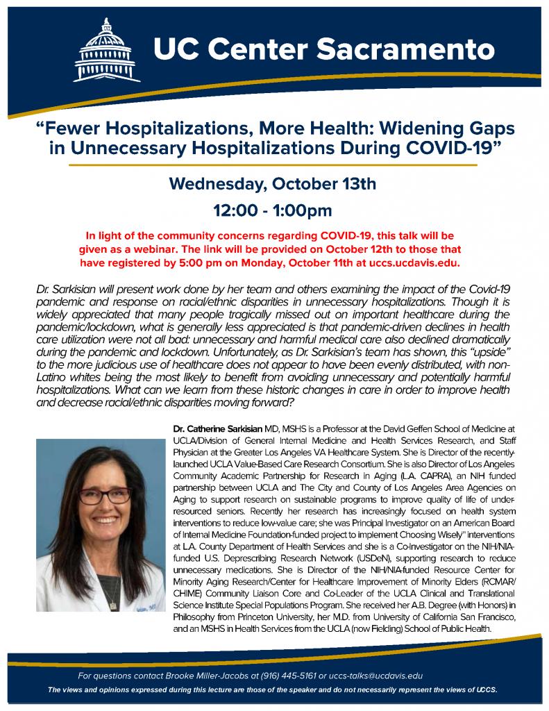 October 13 2021 - Dr. Sarkisian Talk